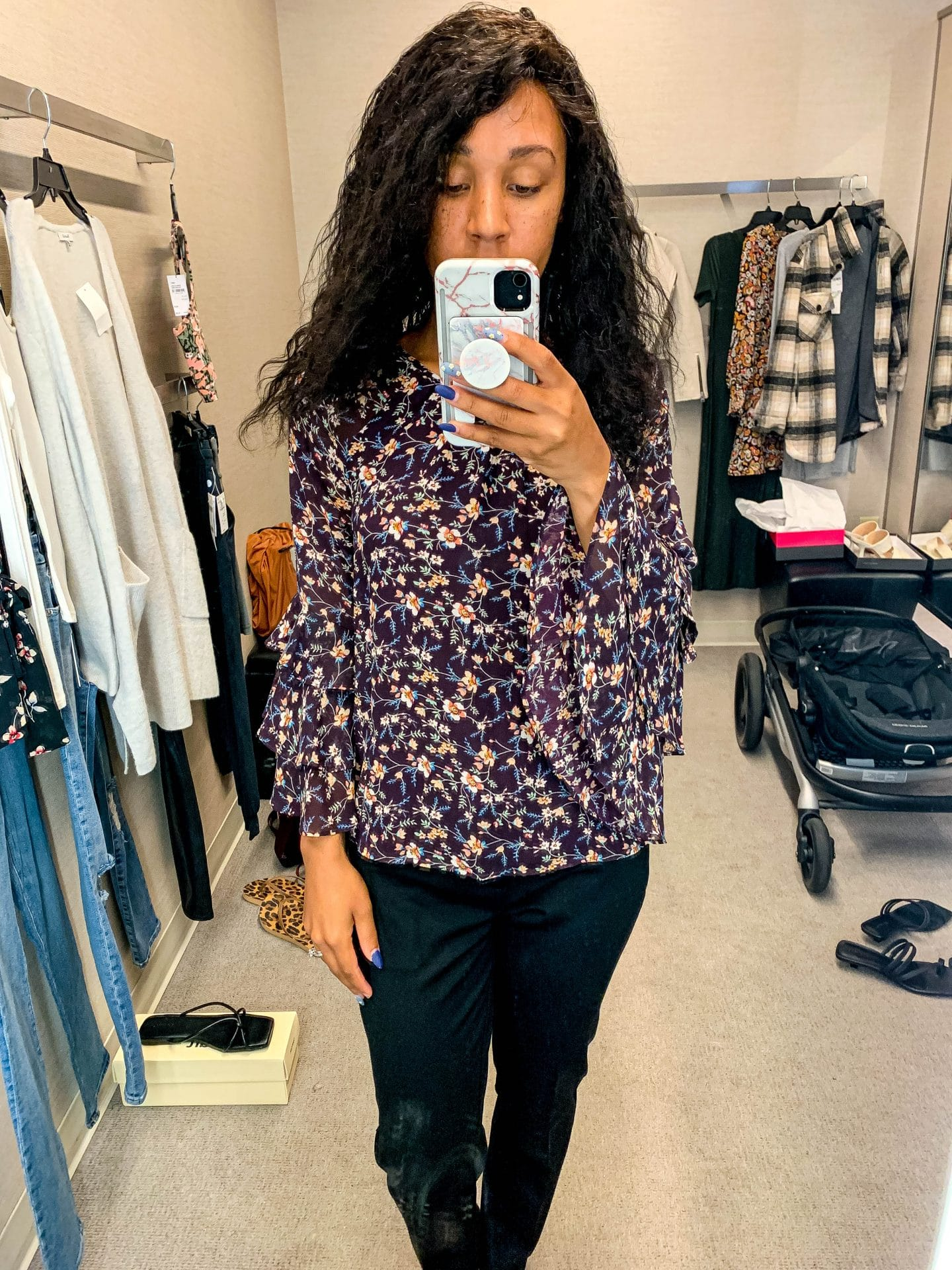 livinglesh nordstrom anniversary sale 1.STATE Floral Print Ruffle Top