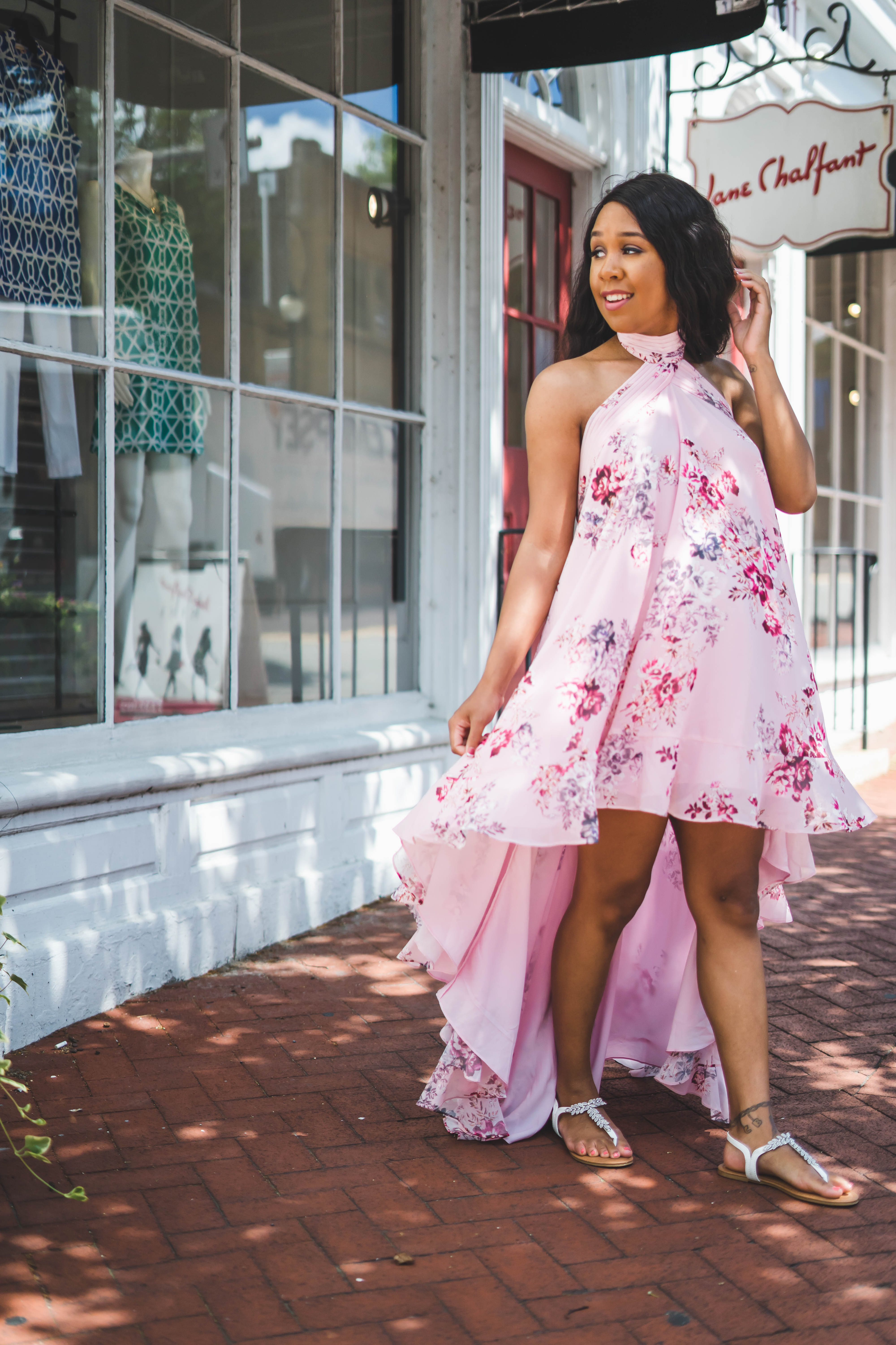 LivingLesh wearing a conrad dress in floral