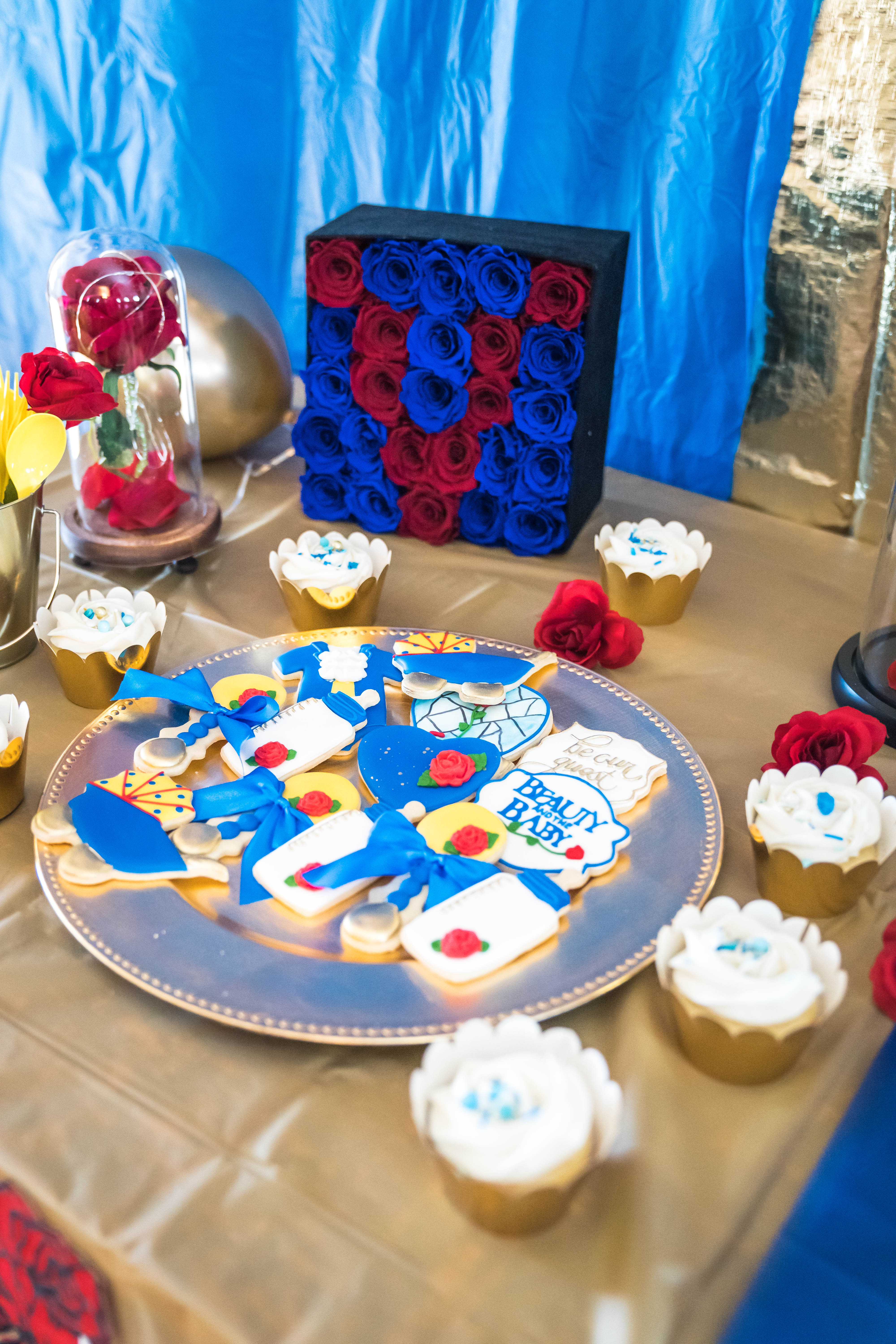 LivingLesh's beauty and the beast baby shower cookies by sugarluxe