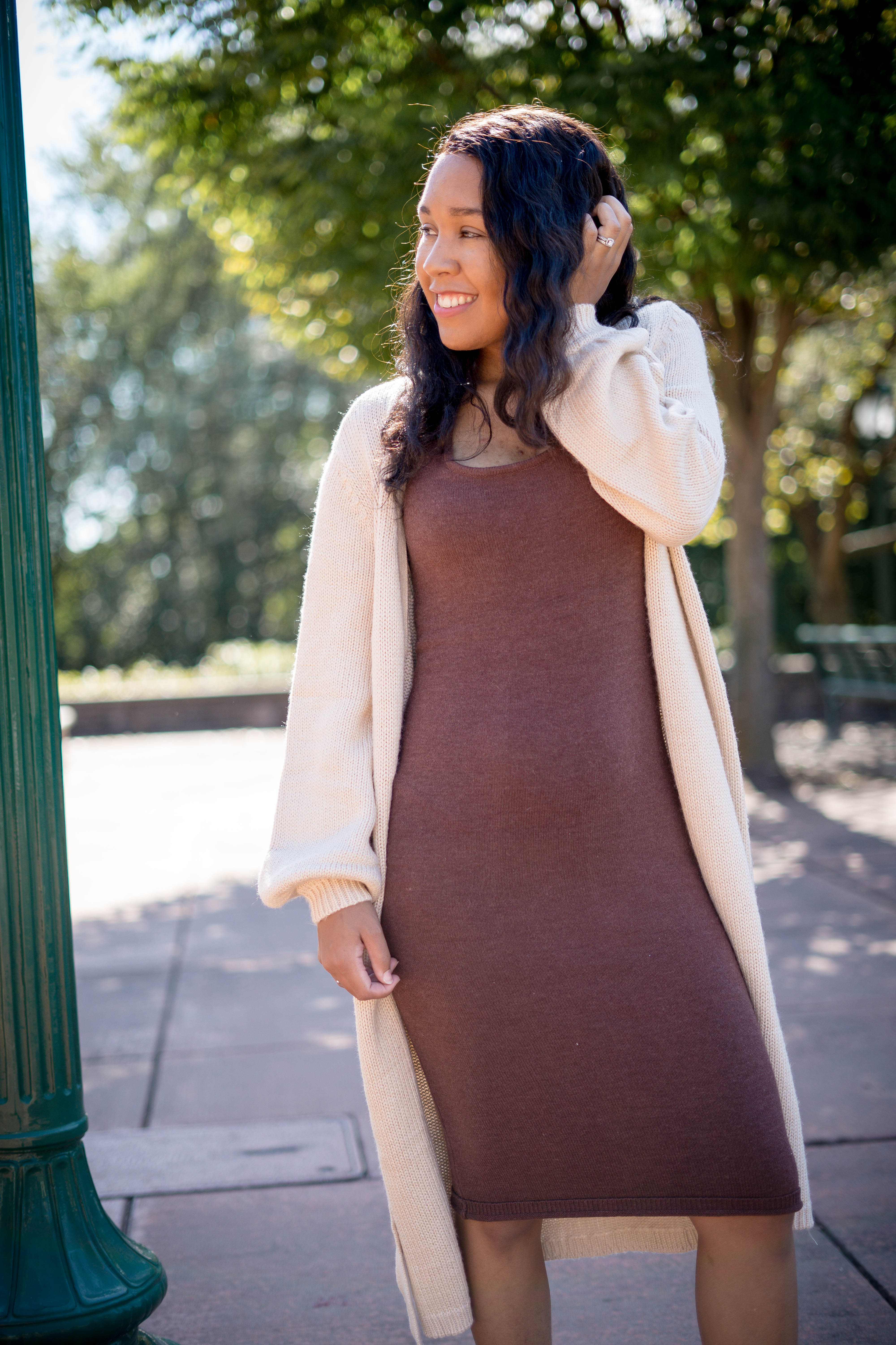 duster with midi sweater dress