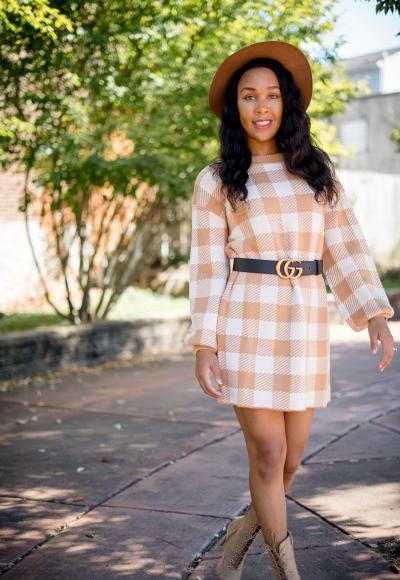 Sweater Weather – Checkered Sweater Dress