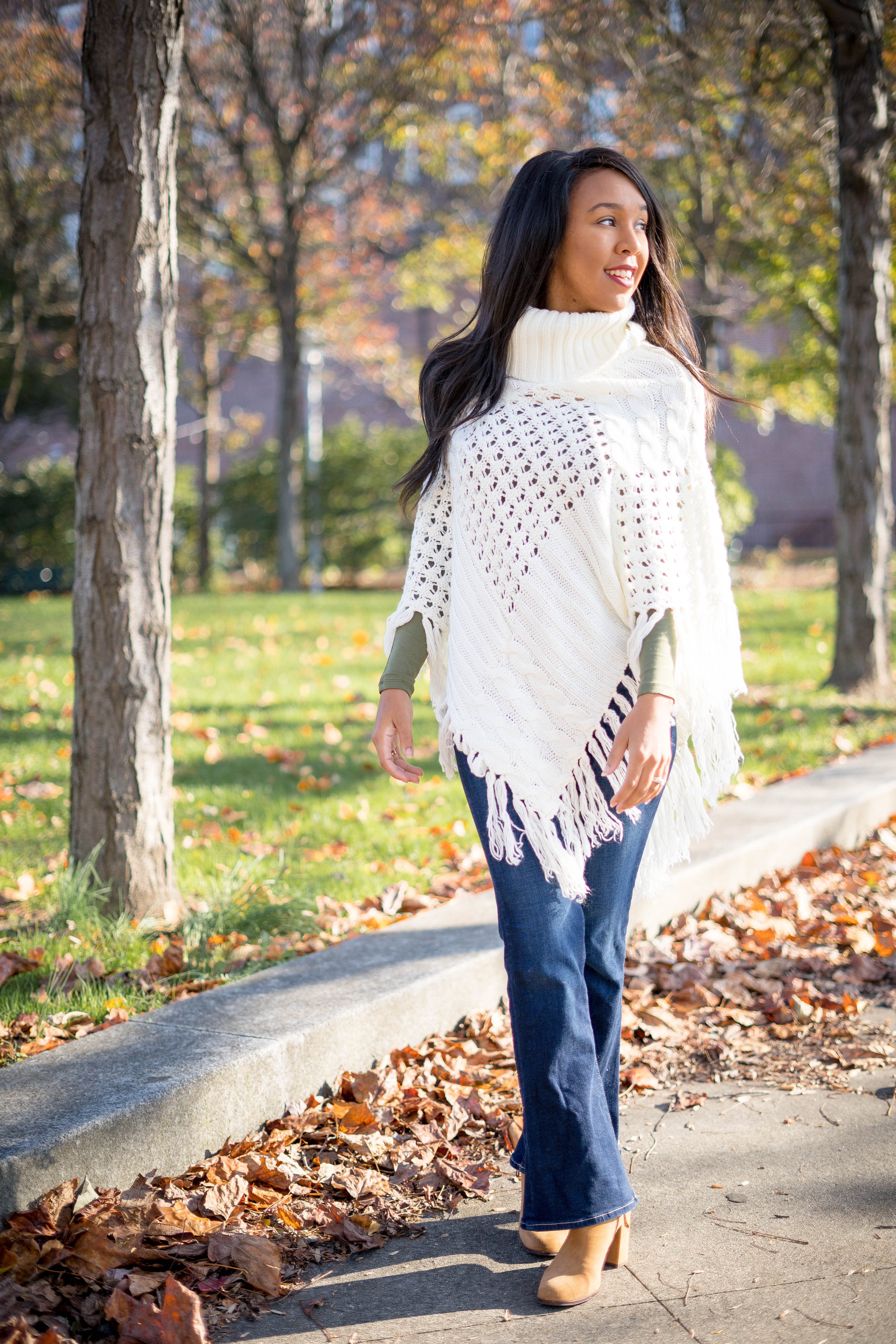 livinglesh how to look taller wearing a poncho with off the shoulder top