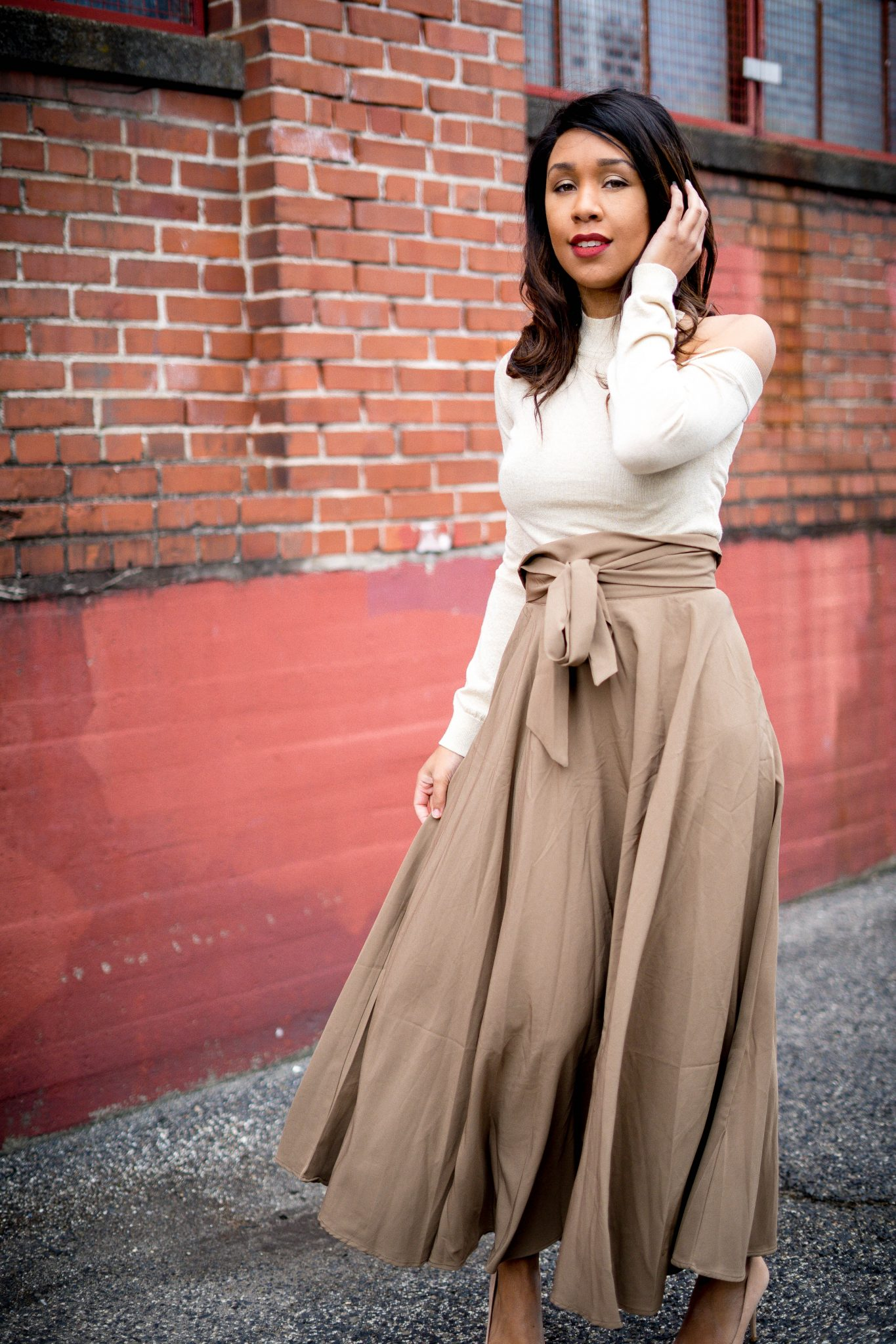 maxi skirt with cold shoulder sweater