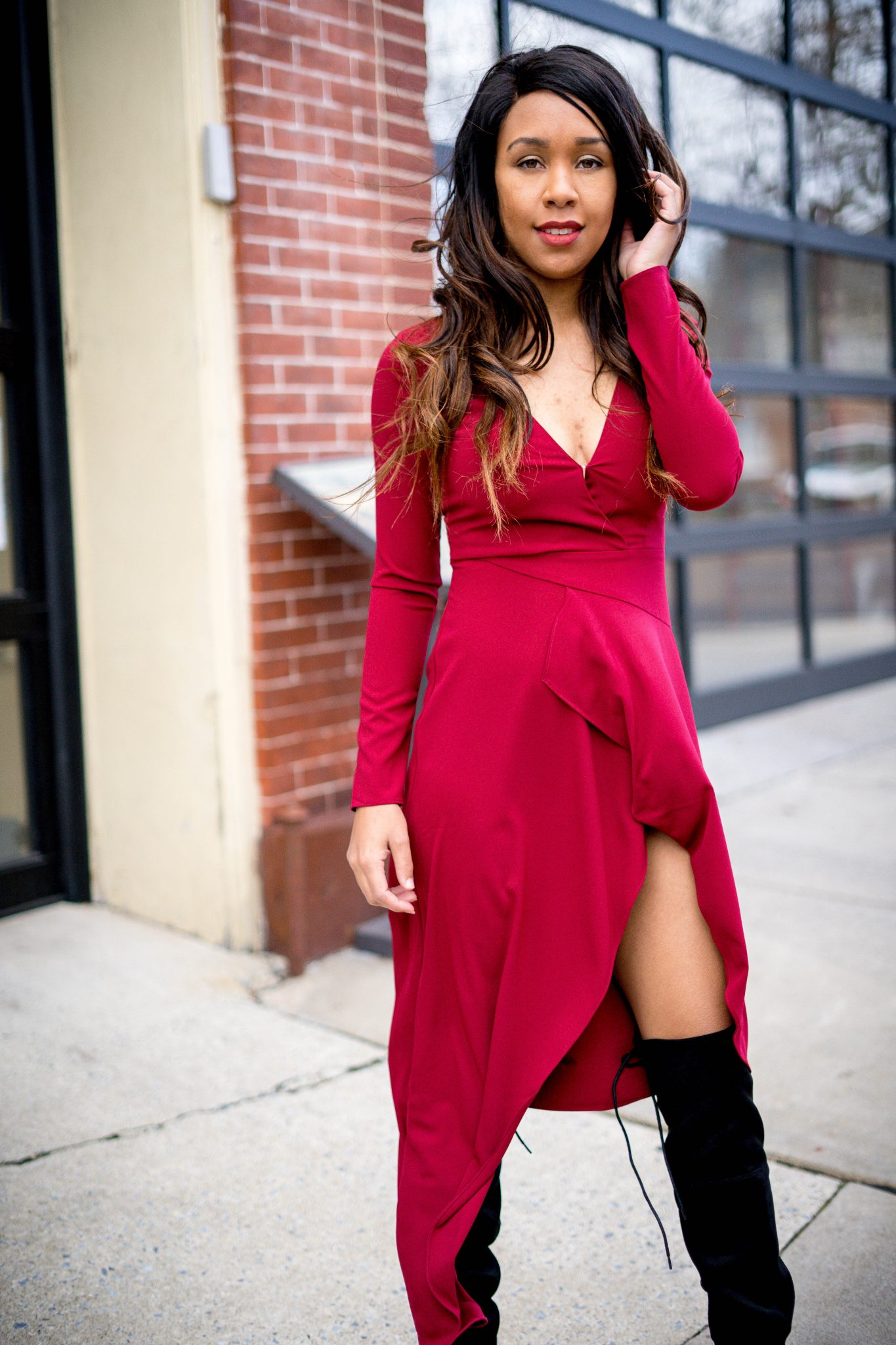 livinglesh wearing a valentine's day dress from revolve