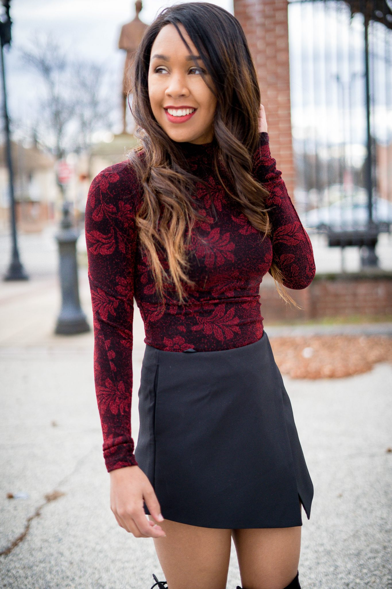 valentines day outfit - bodysuit and skort