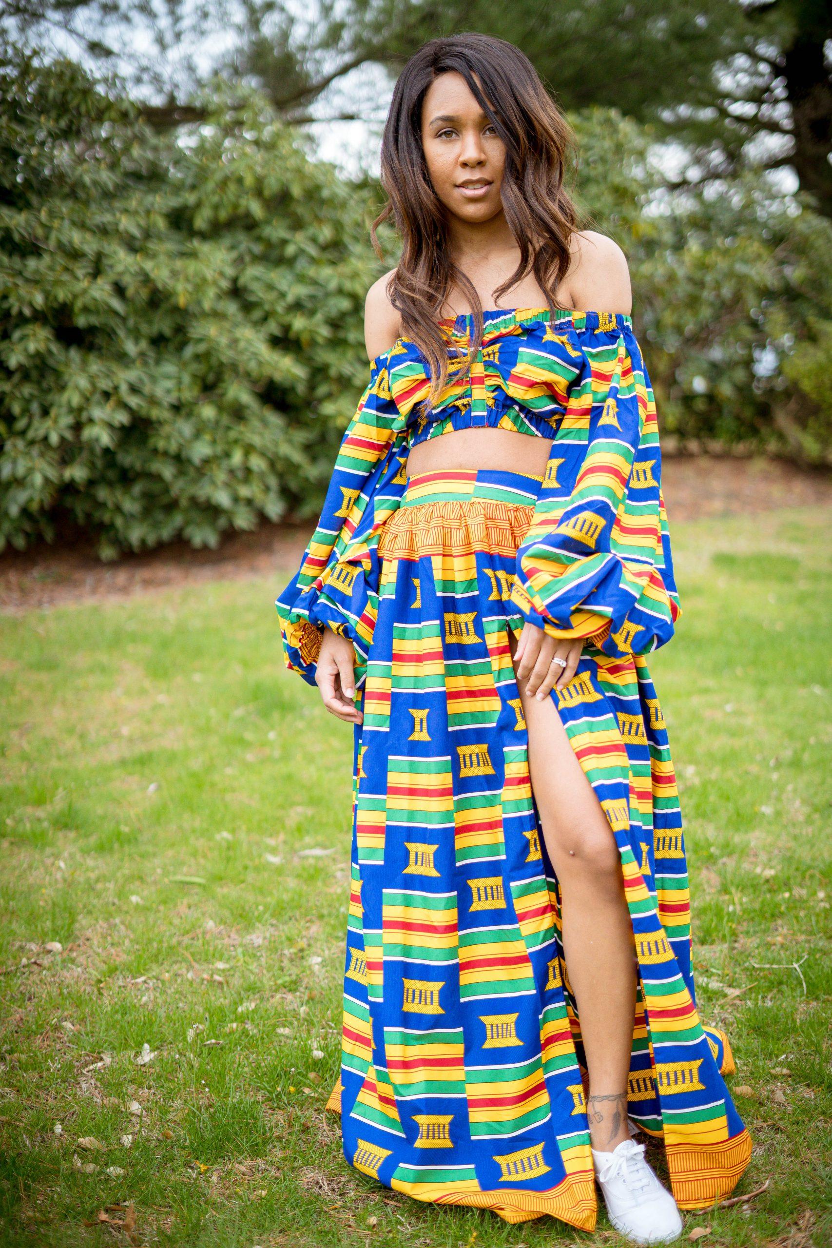 LivingLesh lifestyle blogger showcasing an African print two piece set