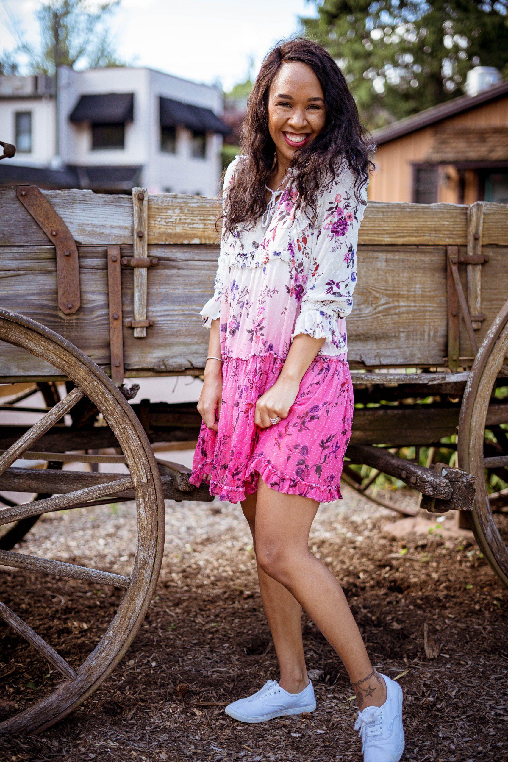 livinglesh wearing ombre dress