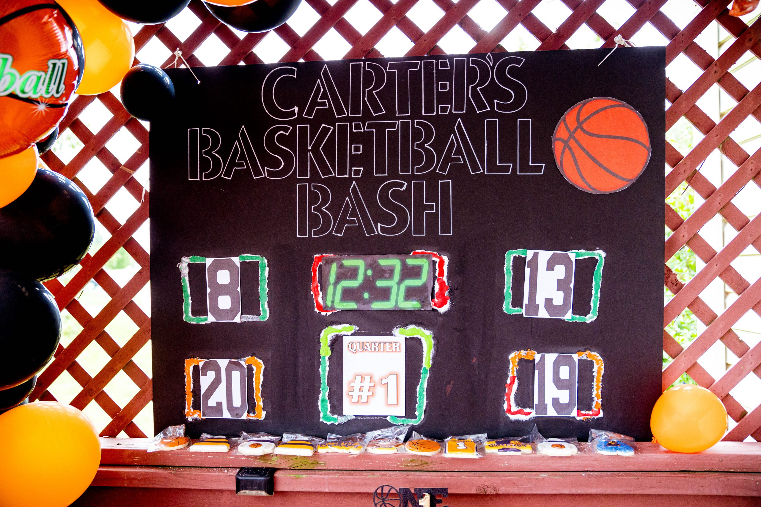 livinglesh basketball birthday party diy scoreboard