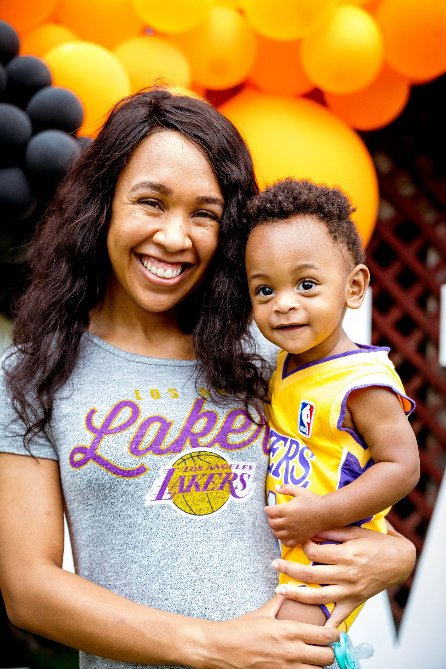 livinglesh lakers birthday party outfit mommy abd me