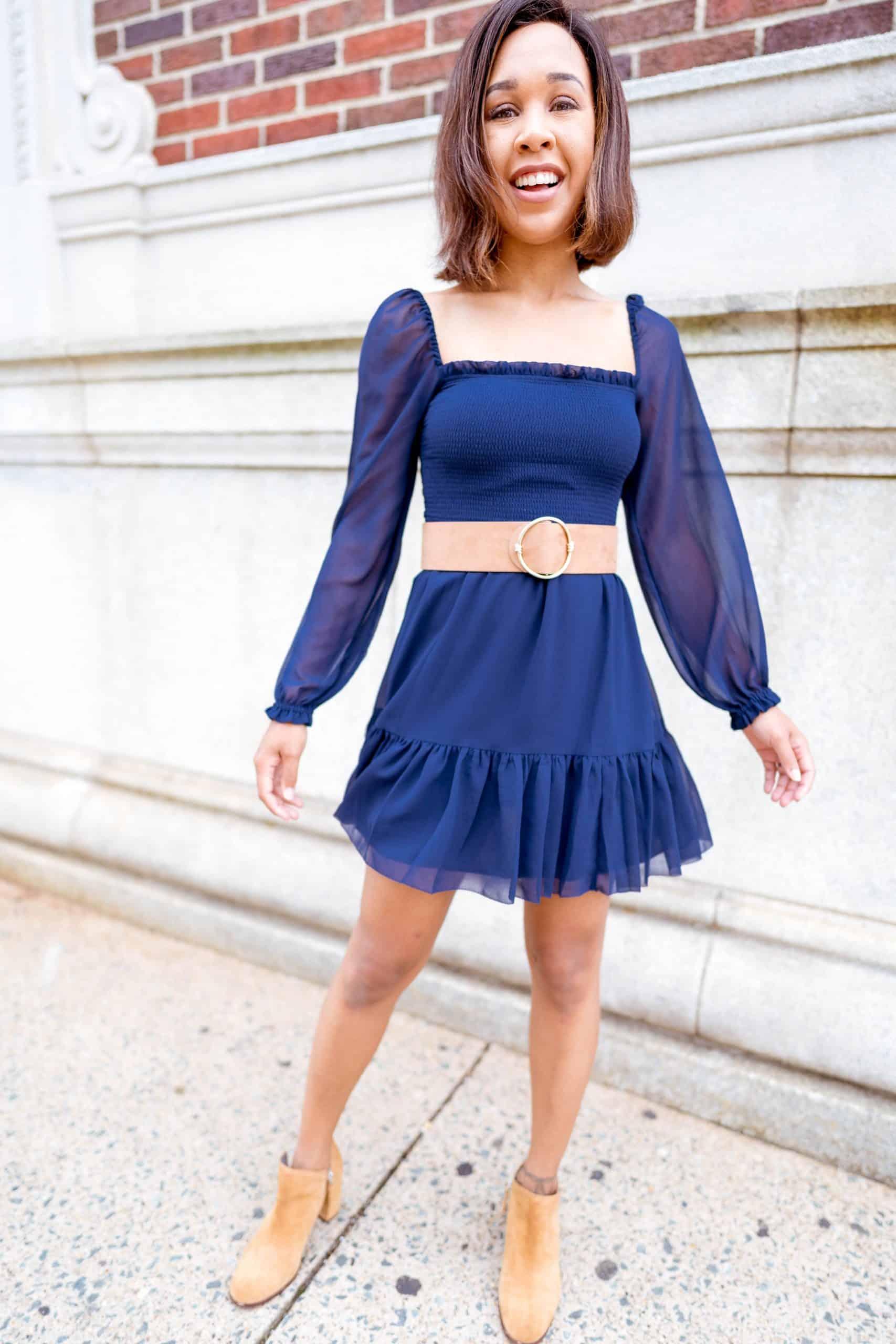 livinglesh long sleeved blue dress