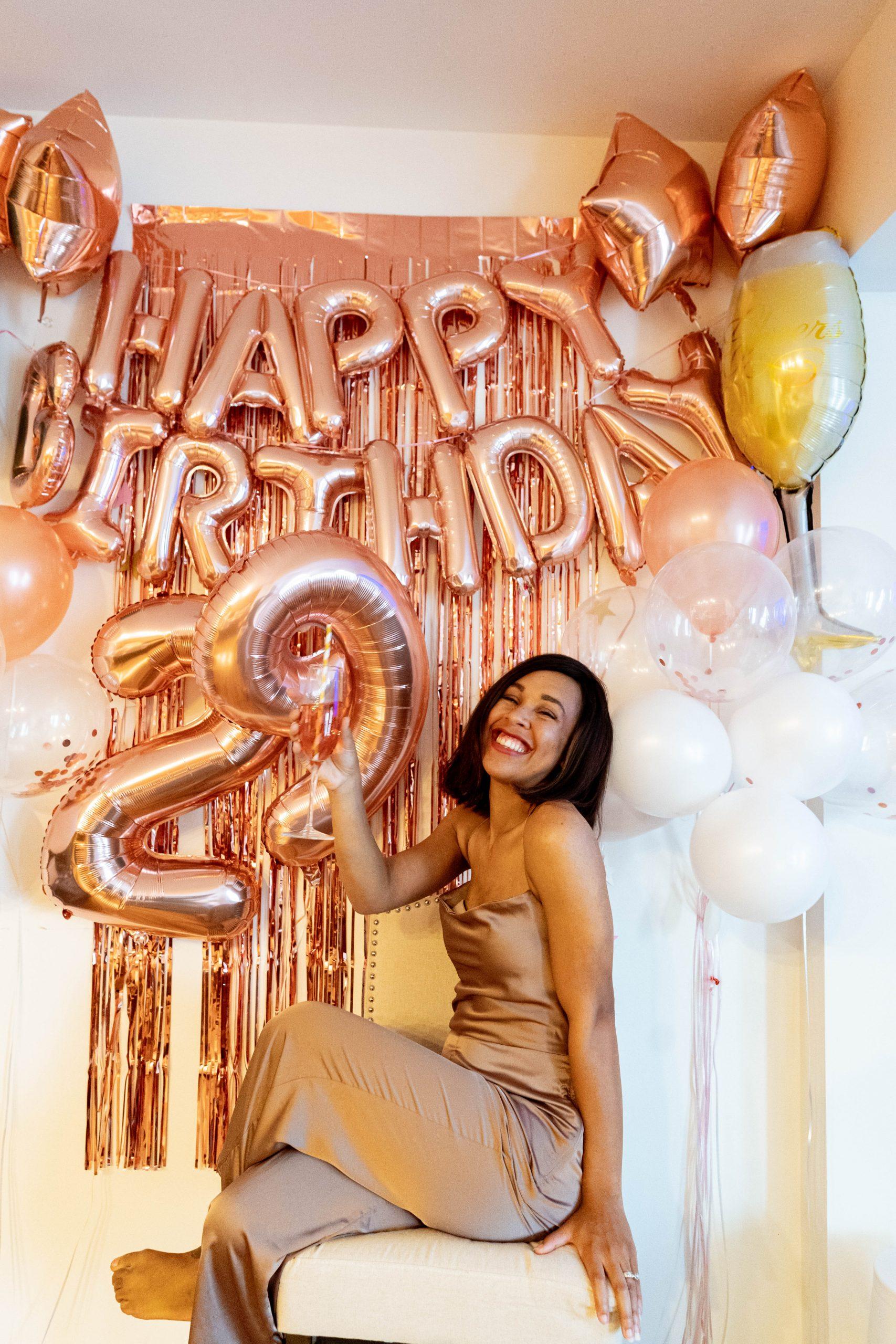 livinglesh rose gold birthday balloons