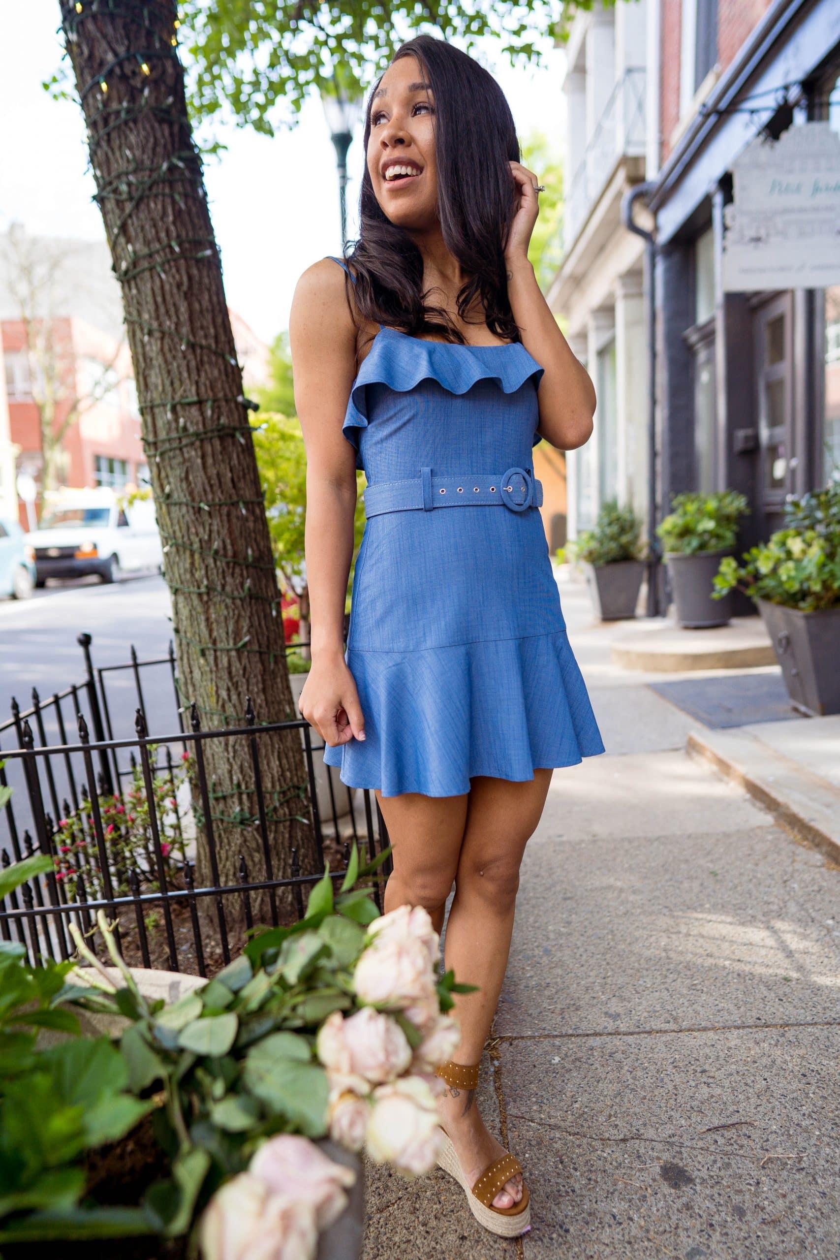livinglesh jacqui mini dress in chambray