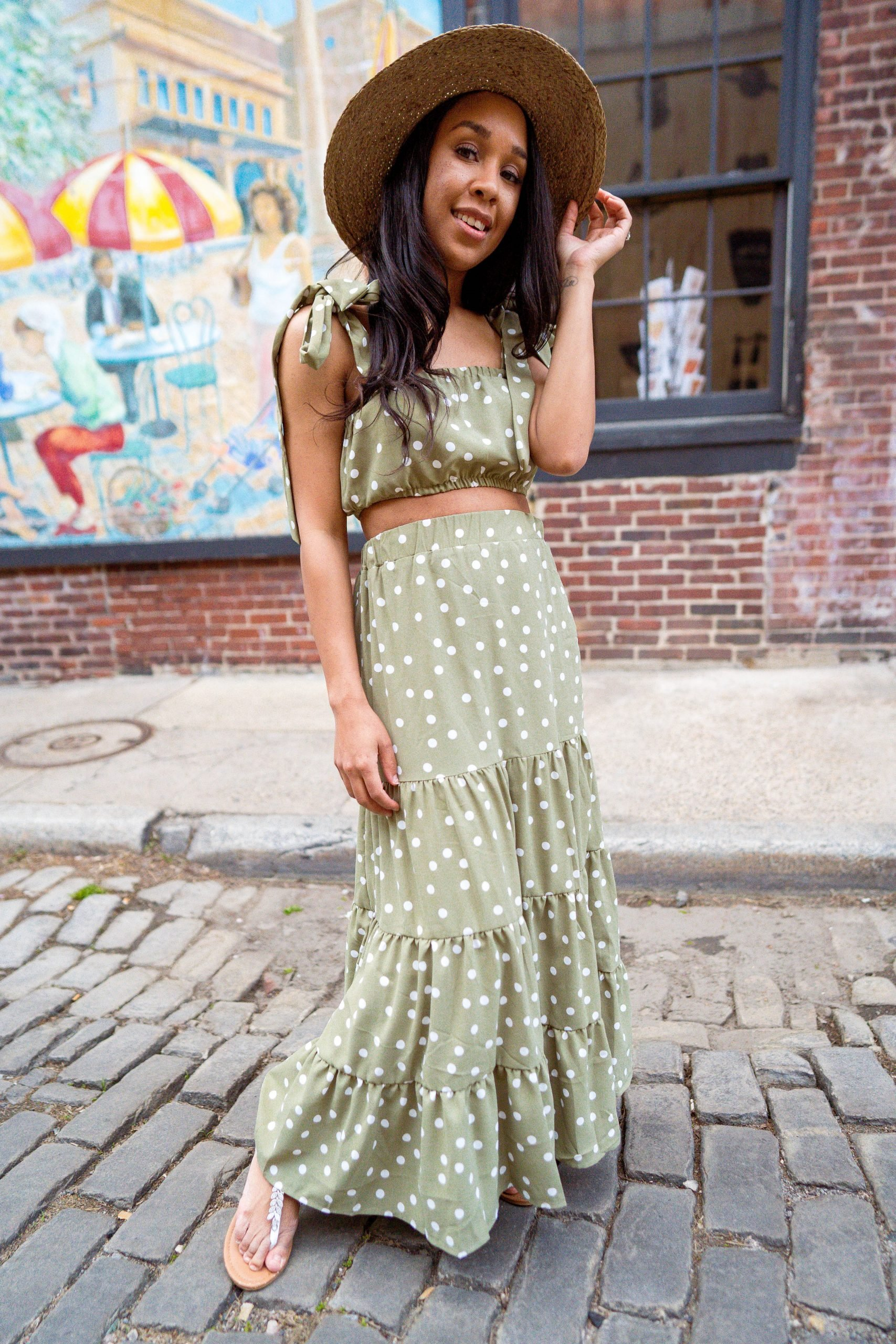 livinglesh sage green two piece maxi dress